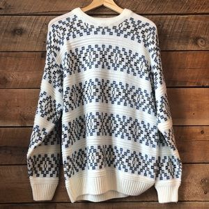 Vintage | Geometric Knit Oversized Pullover